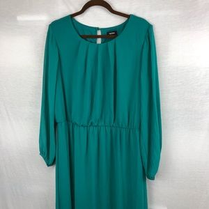Tacera emerald green long sleeve dress  size 1X